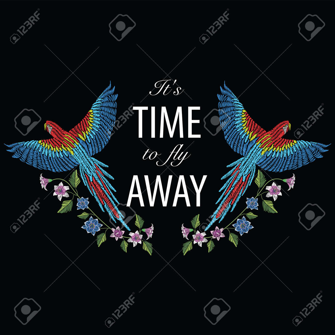 Macaw ara parrot with narcissus, tulip anfd lily flower. Embroidery stitches stylized vector illustration with text it's time to fly away. Traditional floral pattern for textile. Print for fabrics. - 82435635