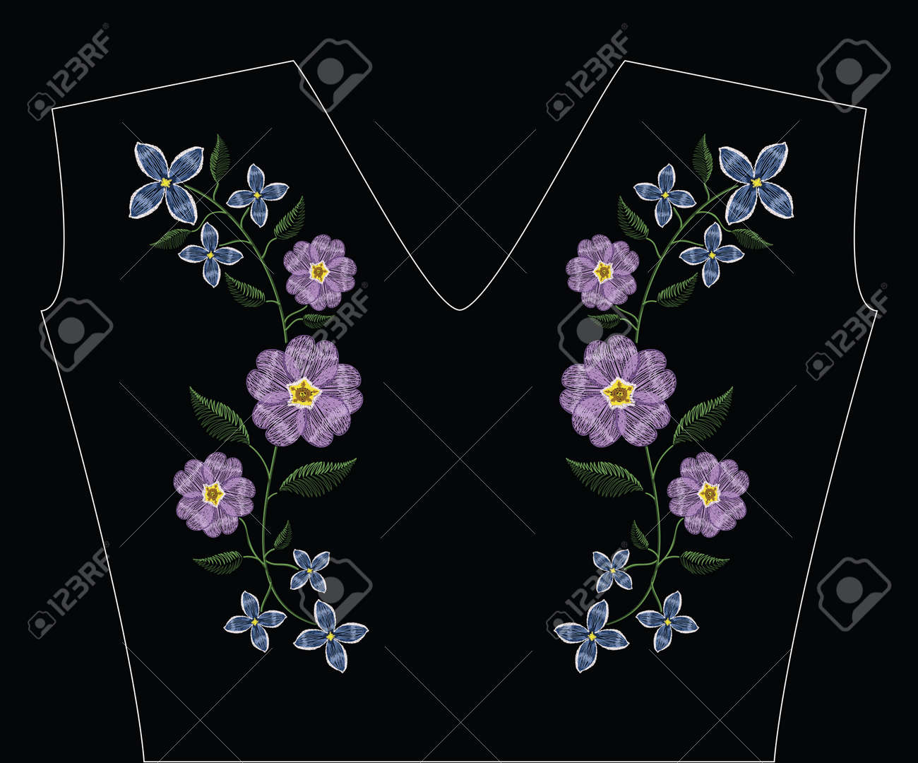 Embroidery stitches with primarose primula vulgaris and lilac flower.. Vector fashion ornament on black background for traditional floral decoration. Pattern for textile and fabrics. Print for textile. - 82742431