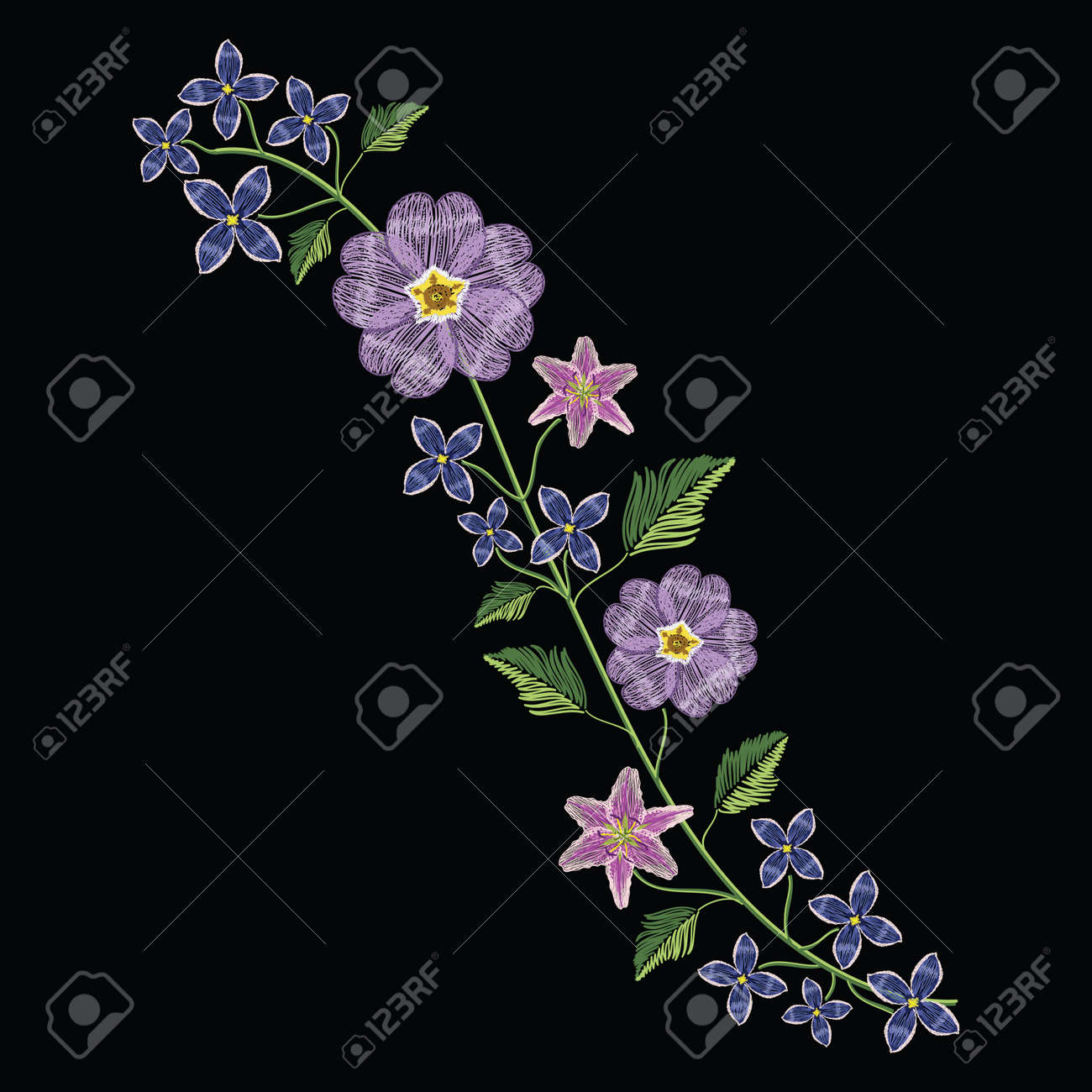 Embroidery stitches with primarose primula vulgaris and lilac flower.. Vector fashion ornament on black background for traditional floral decoration. Pattern for textile and fabrics. Print for textile. - 82742432
