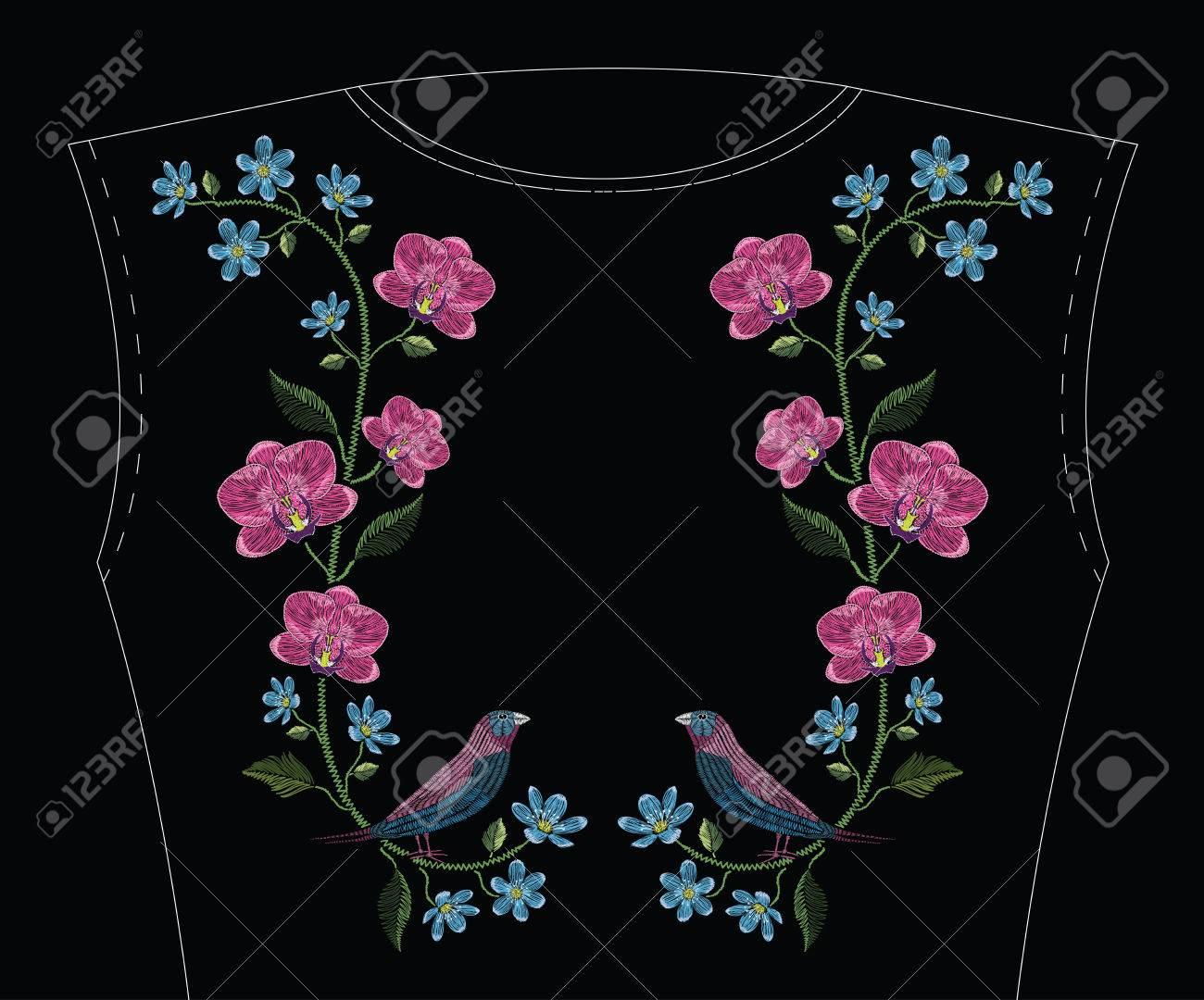 Embroidery stitches with orchid, hepatica flower and gouldian finch bird. Vector fashion ornament on black background for traditional floral decoration. Pattern for textile and fabrics. Print for textile. - 82742436