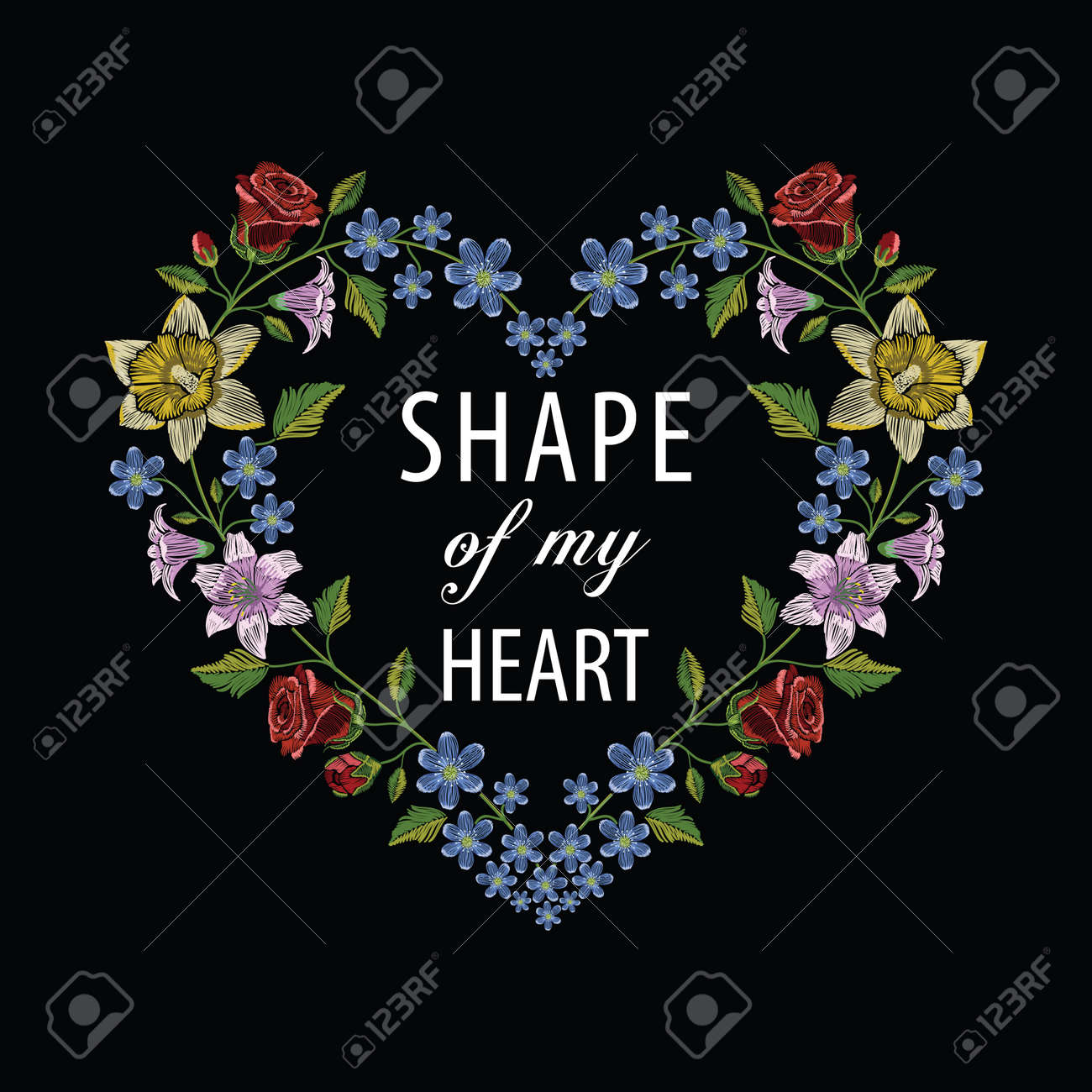 Embroidery stitches with hibiscus, rose, lily and hepatica flower making heart shape. Vector fashion ornament on black background for floral decoration. Pattern for textile. Print for fabrics. - 82742435