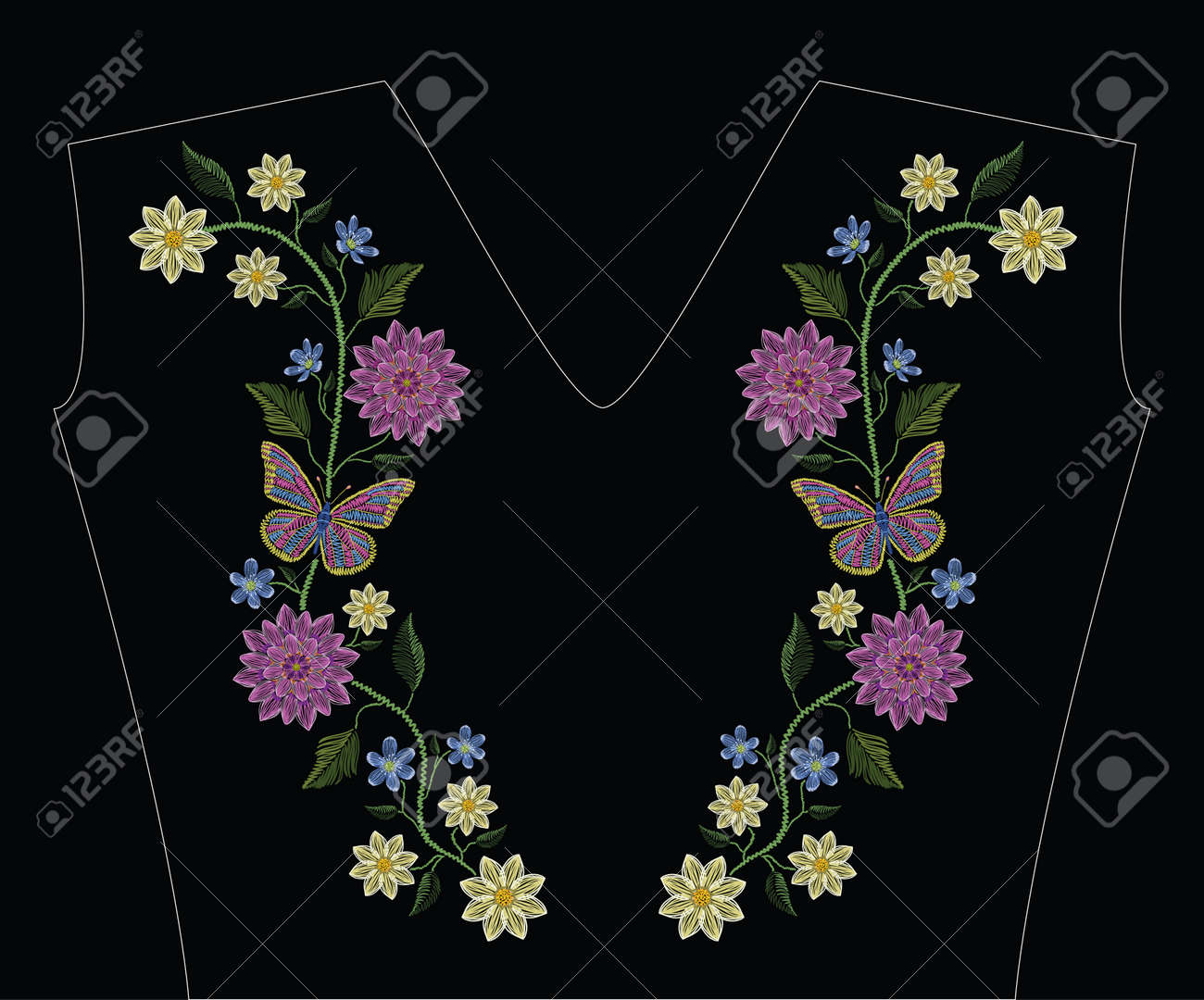 Embroidery stitches with dahlia, hepatica flower and butterflies in pastel color. Vector fashion ornament on black background for traditional floral decoration. Pattern for textile and fabrics. Print for textile. - 85549172