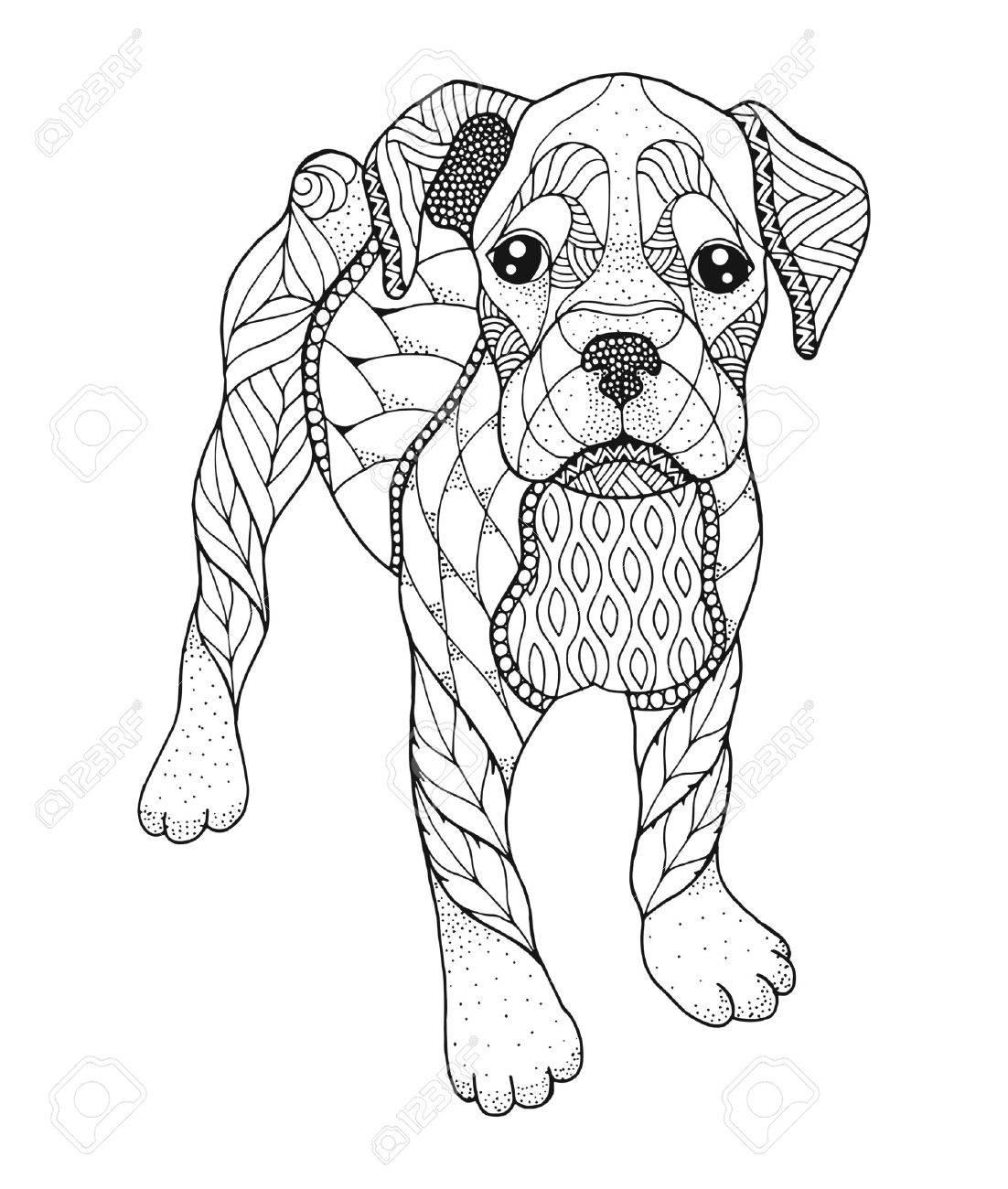 Perro Boxer En Estilo Punteado Ilustración Vectorial Libro Para Colorear Antiestrés Para Adultos Y Niños Imprimir Para Camisetas