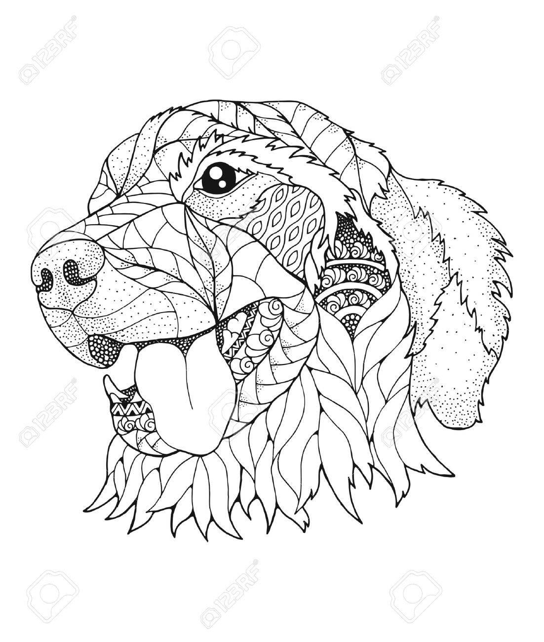 Golden retriever dog in stipple style. - 85878760