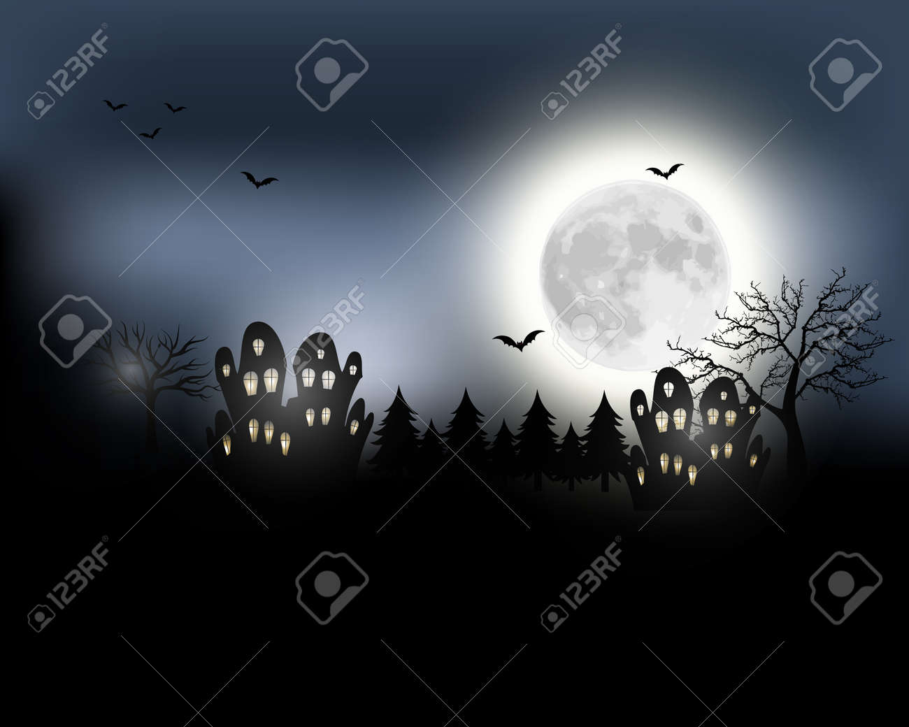 Halloween background. Halloween landscape with full moon. Mysterious..