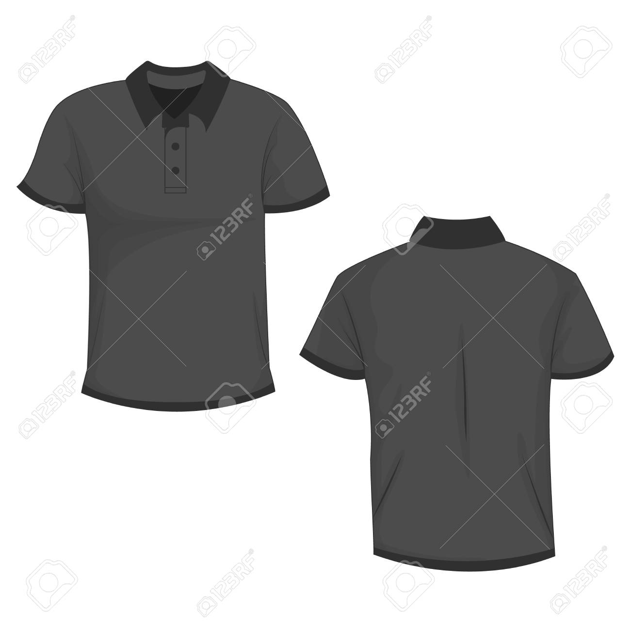 e7f992f64 Black / Dark Gray Polo T-shirt Mock Up, Front And Back View ...