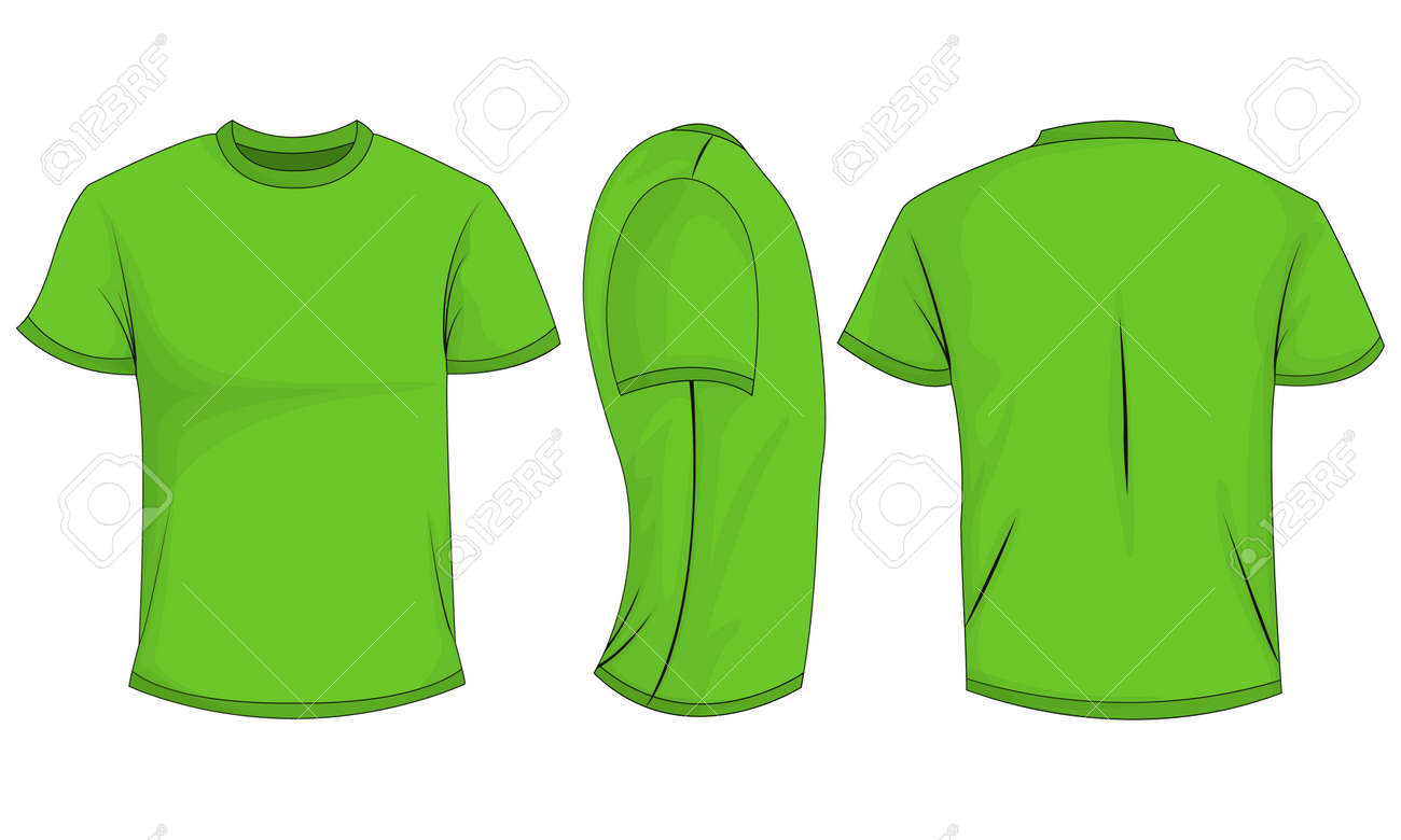 2637aed9a Isolated on white background. Vector illustration, EPS10. Green mens t-shirt  with short sleeves. Front, back, side view.