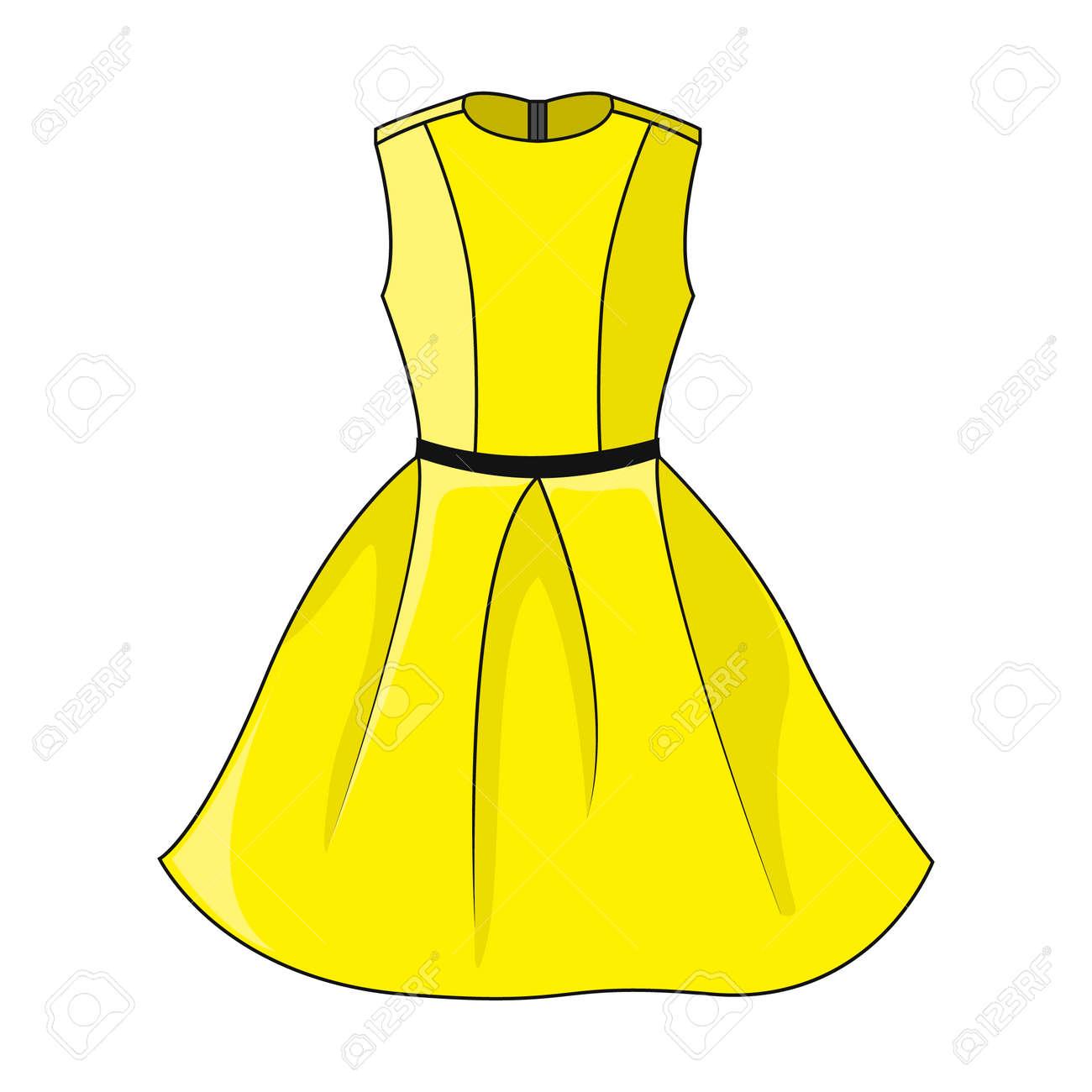 Elegant yellow dress icon  Beautiful short yellow dress with