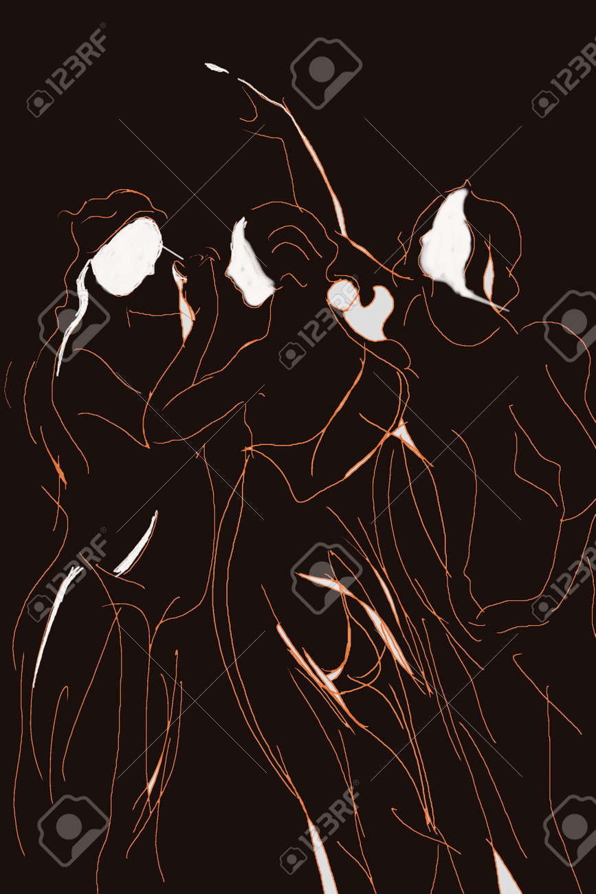 Semi Abstract Draw Of The Three Graces In Black Brown And White