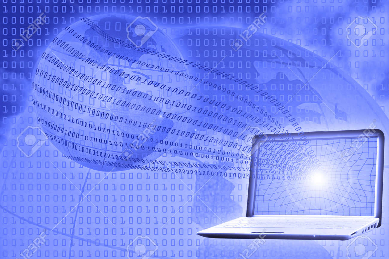 digital world concept: binary code floating from laptop to globe Stock Photo - 8366685