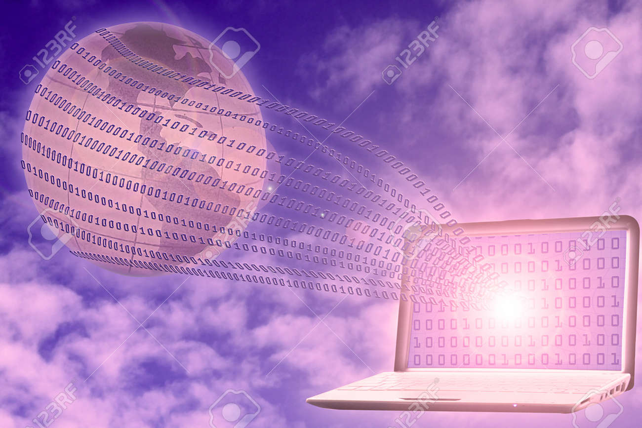 internet concept: binary code floating from laptop to glob Stock Photo - 8366683