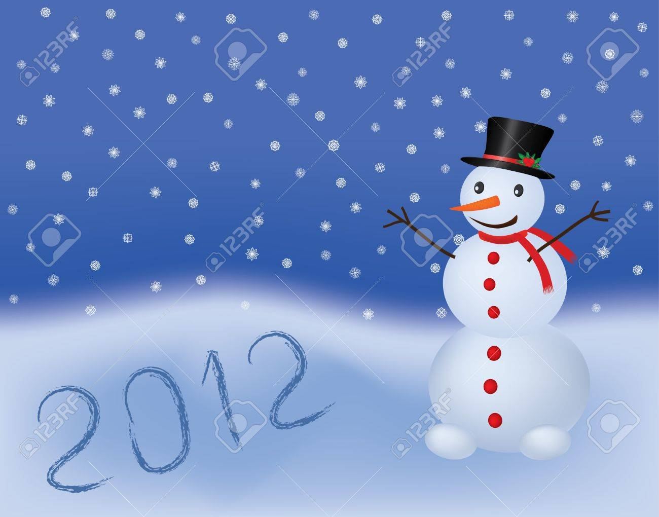 new year 2012 vector background with snowman Stock Vector - 9404955