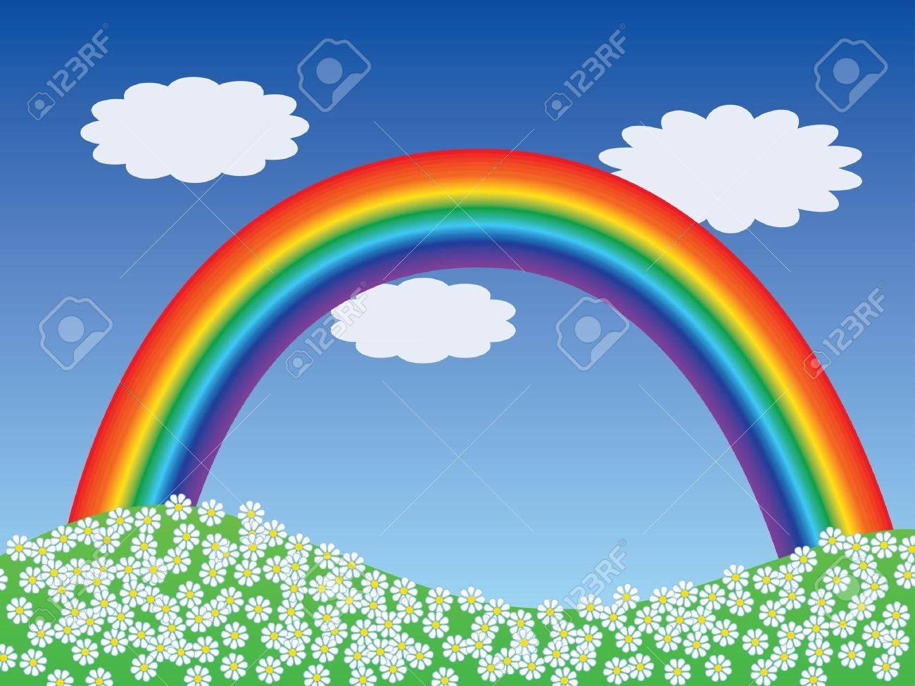 cartoon landscape with rainbow vector illustration Stock Vector - 12203266