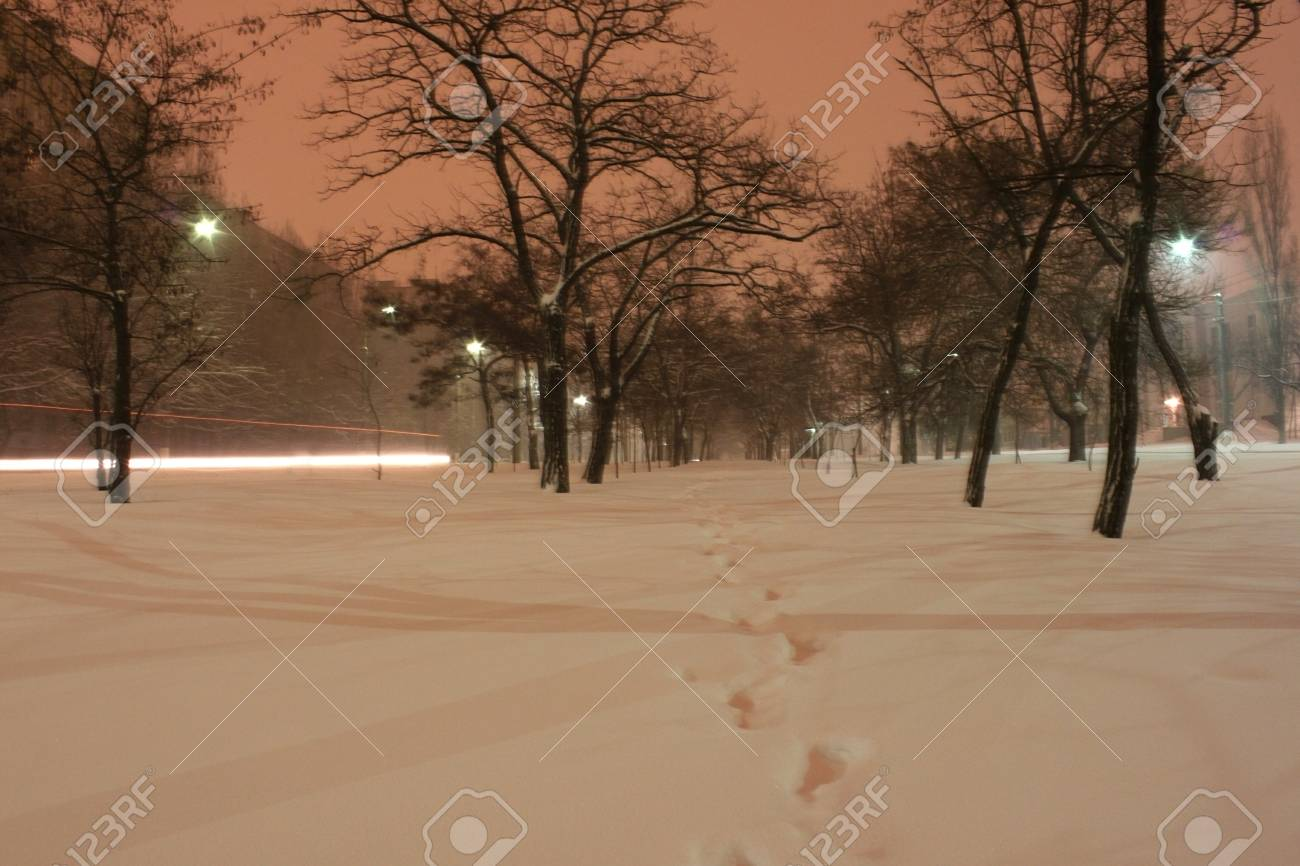 town at winter night Stock Photo - 12552355