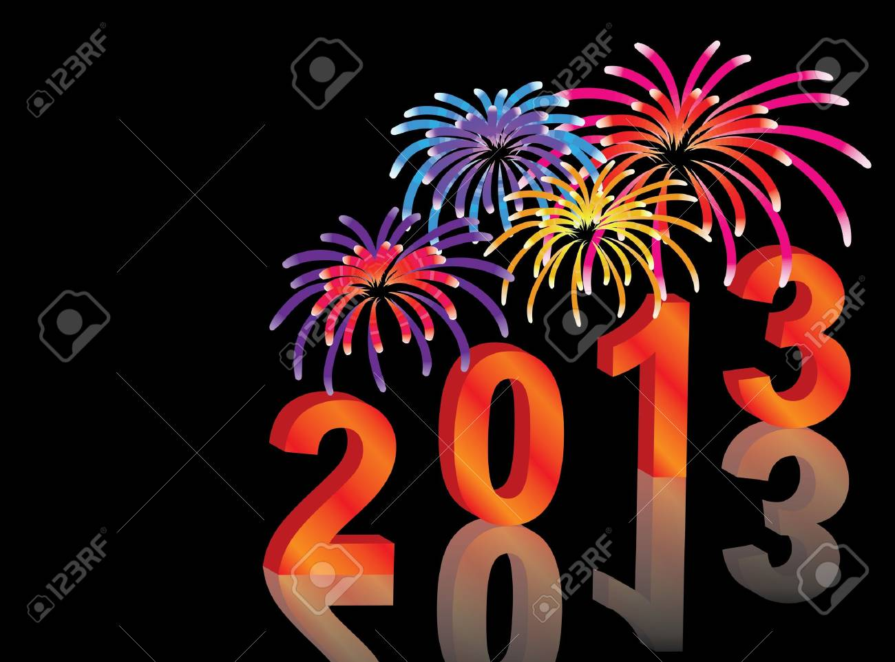new year 2013 vector background with fireworks Stock Vector - 12552411