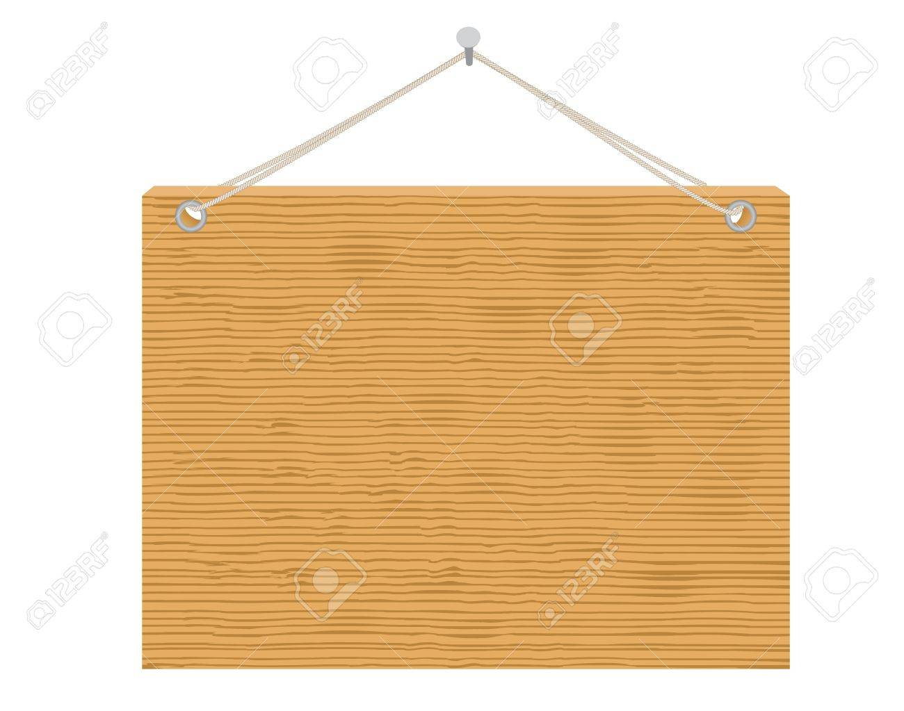 wooden notice board hanging on nail vector illustration Stock Vector - 12944543