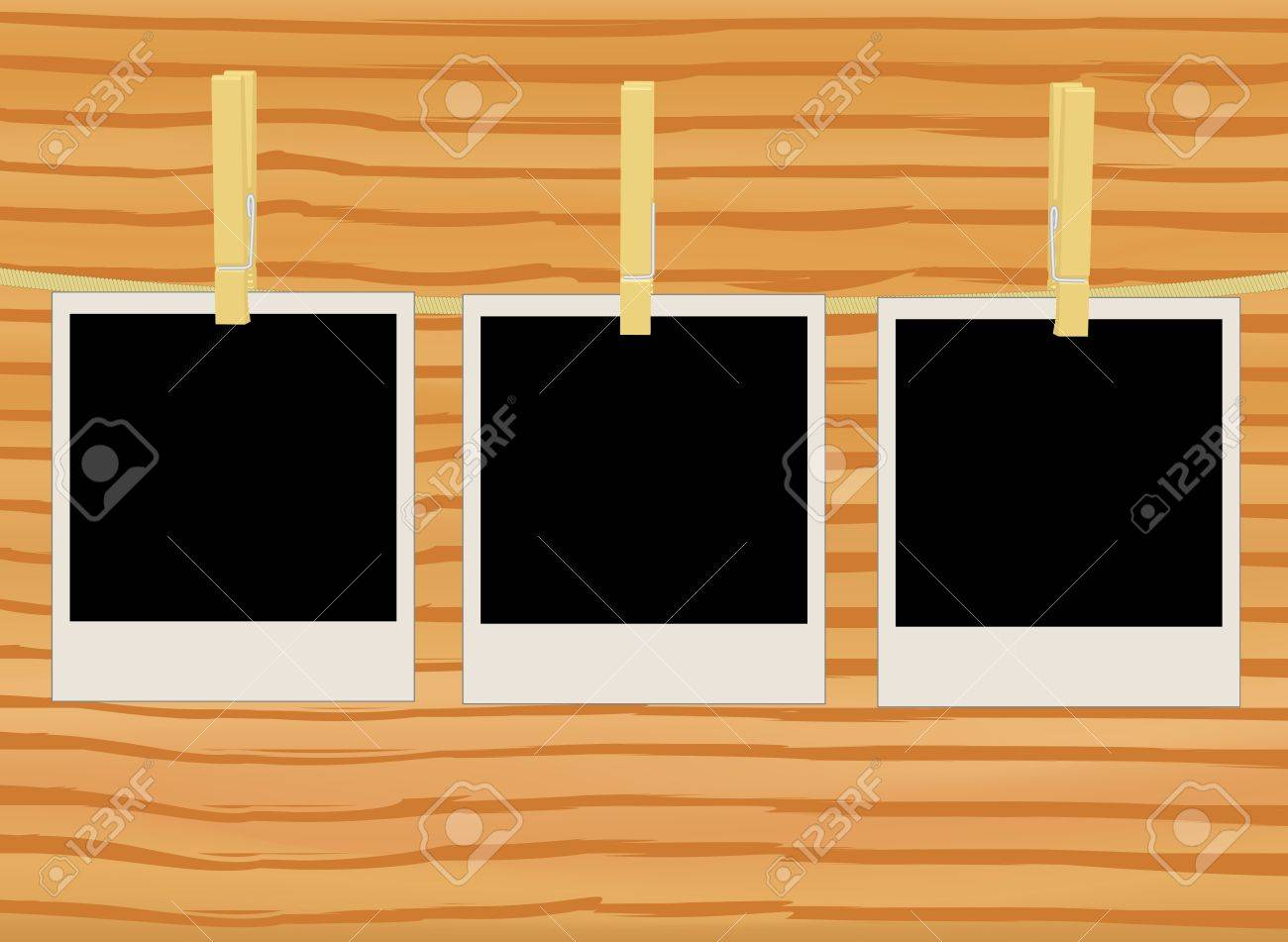 three photos on rope over wooden wall illustration Stock Vector - 12944559