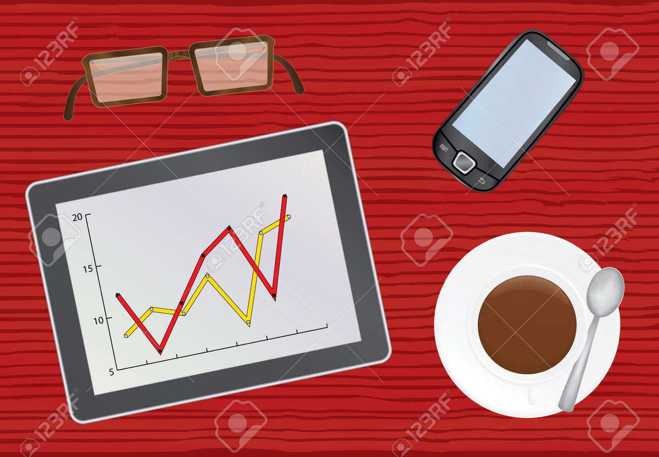 chief table with tablet pc vector illustration Stock Vector - 13012389