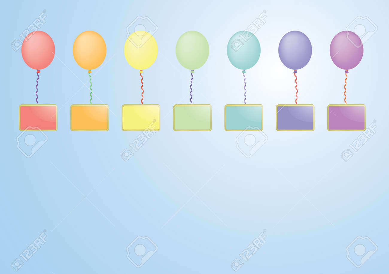 rainbow color balloons with boards in a sky vector illustration Stock Vector - 13241290