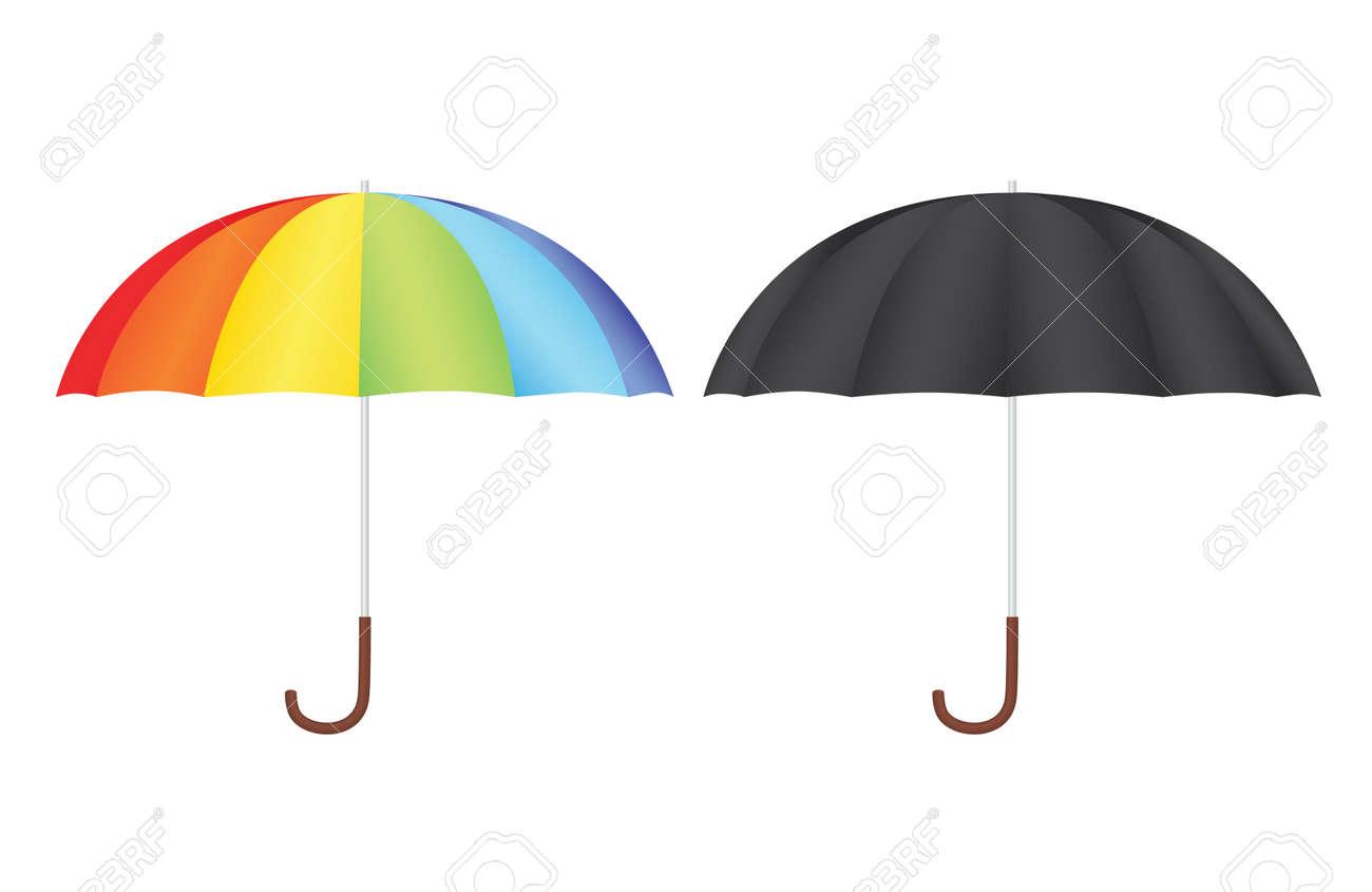 black an rainbow umbrellas vector illustration Stock Vector - 13420864