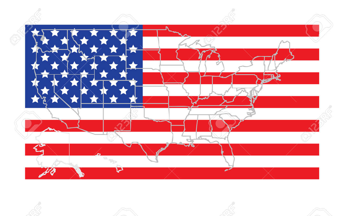 Usa States Map Outline Over Accurate Flag Vector Illustration - Usa staes map