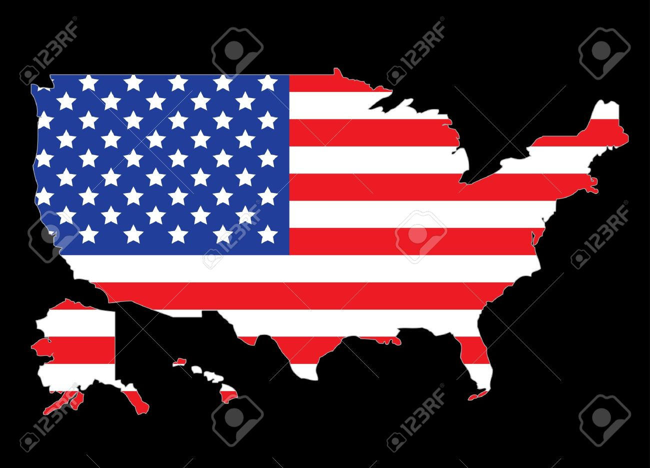 USA map outline with United States flag vector illustration