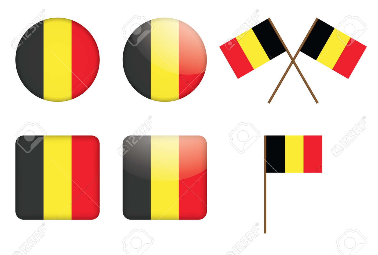 set of badges with flag of Belgium Stock Vector - 13884279