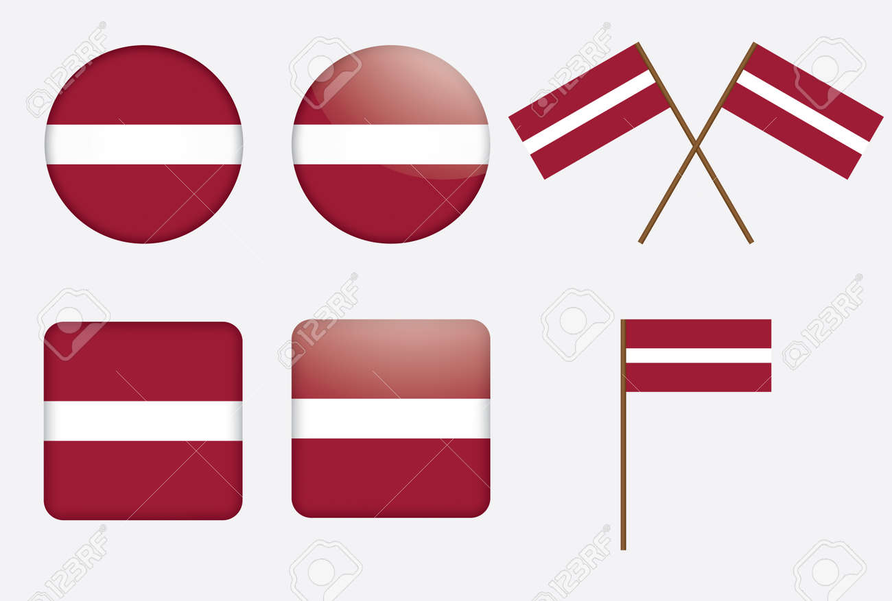 set of badges with flag of Latvia Stock Vector - 14241836