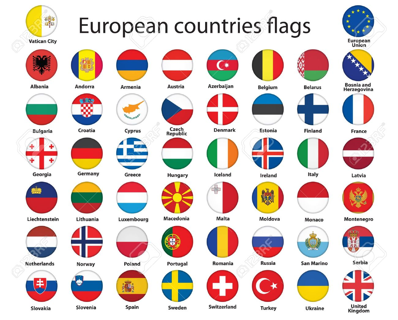 set of round buttons with flags of Europe vector illustration Stock Vector - 14471552