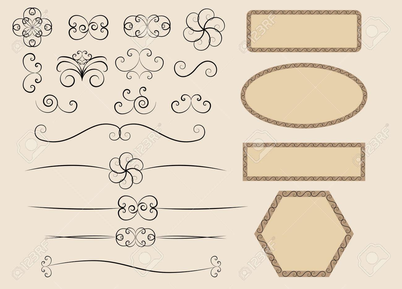 set of retro calligraphic design elements vector illustration Stock Vector - 14957772