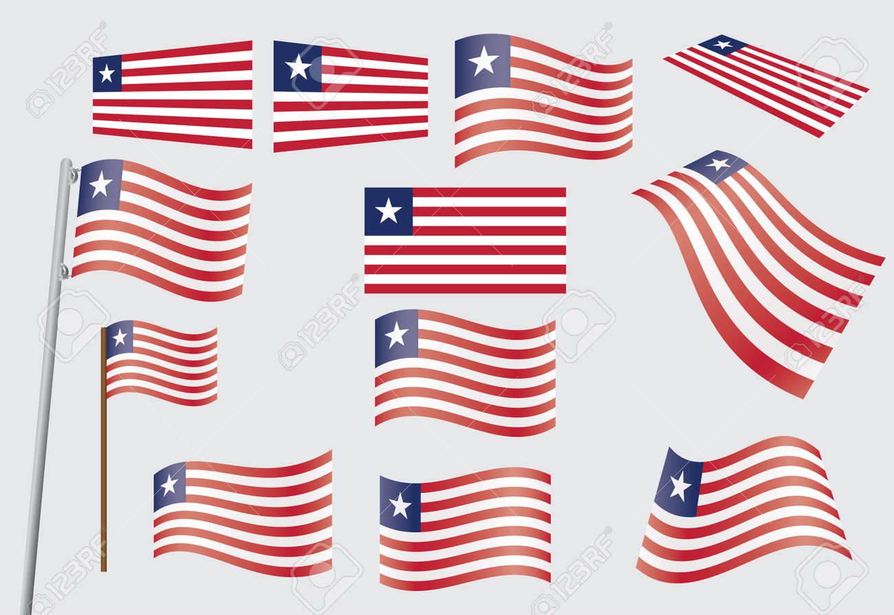 set of flags of Liberia  illustration Stock Vector - 16100702