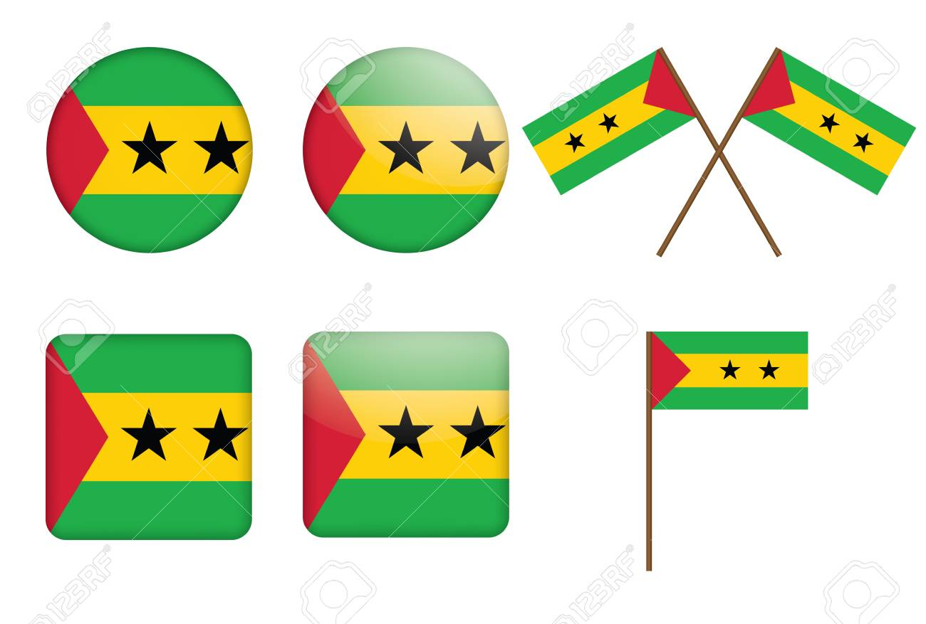 set of badges with flag Sao Tome and Principe  illustration Stock Vector - 16211388