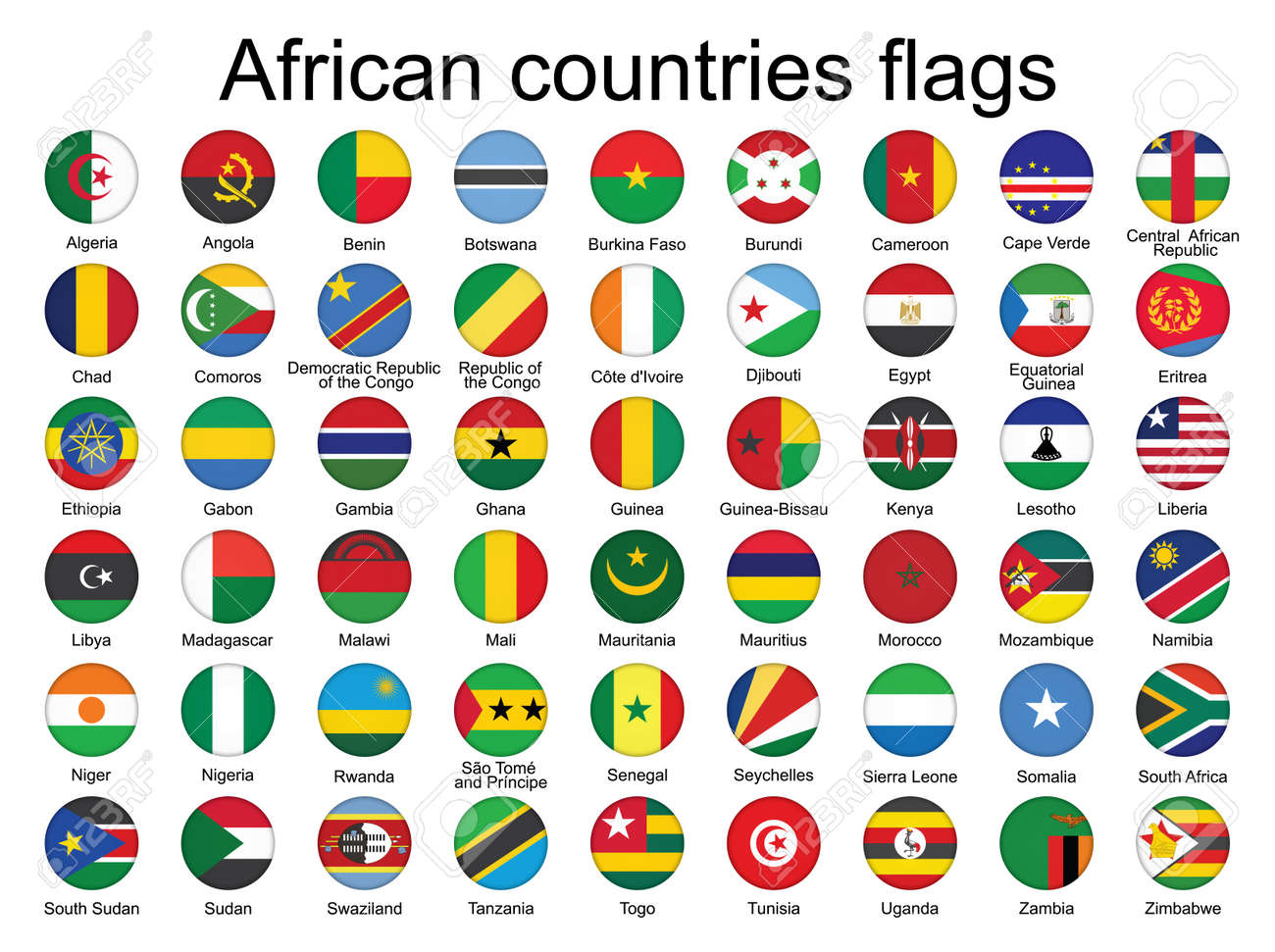 set of round buttons with flags of Africa  illustration Stock Vector - 16281465