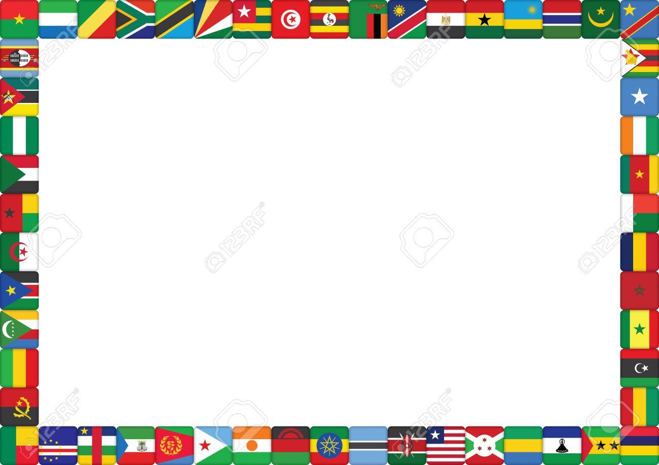 Rahmen Aus Afrikanischen Ländern Flags Vector Illustration ...