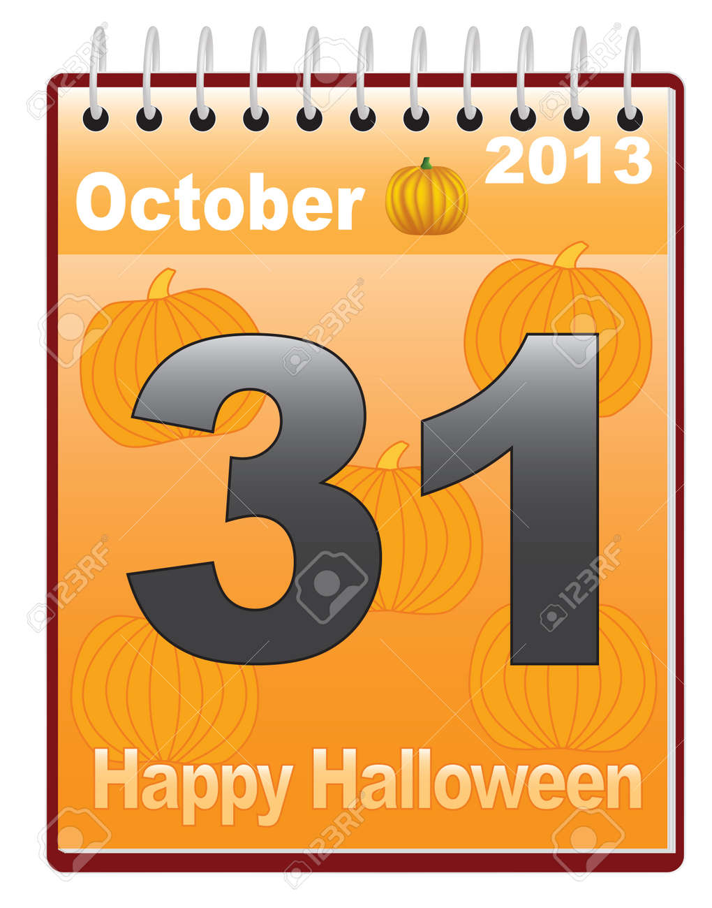 calendar with Halloween date vector illustration Stock Vector - 16609787