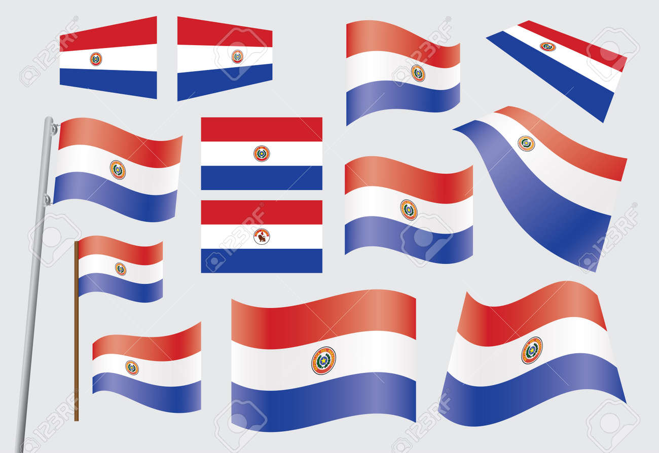set of flags of Paraguay Stock Vector - 17153992