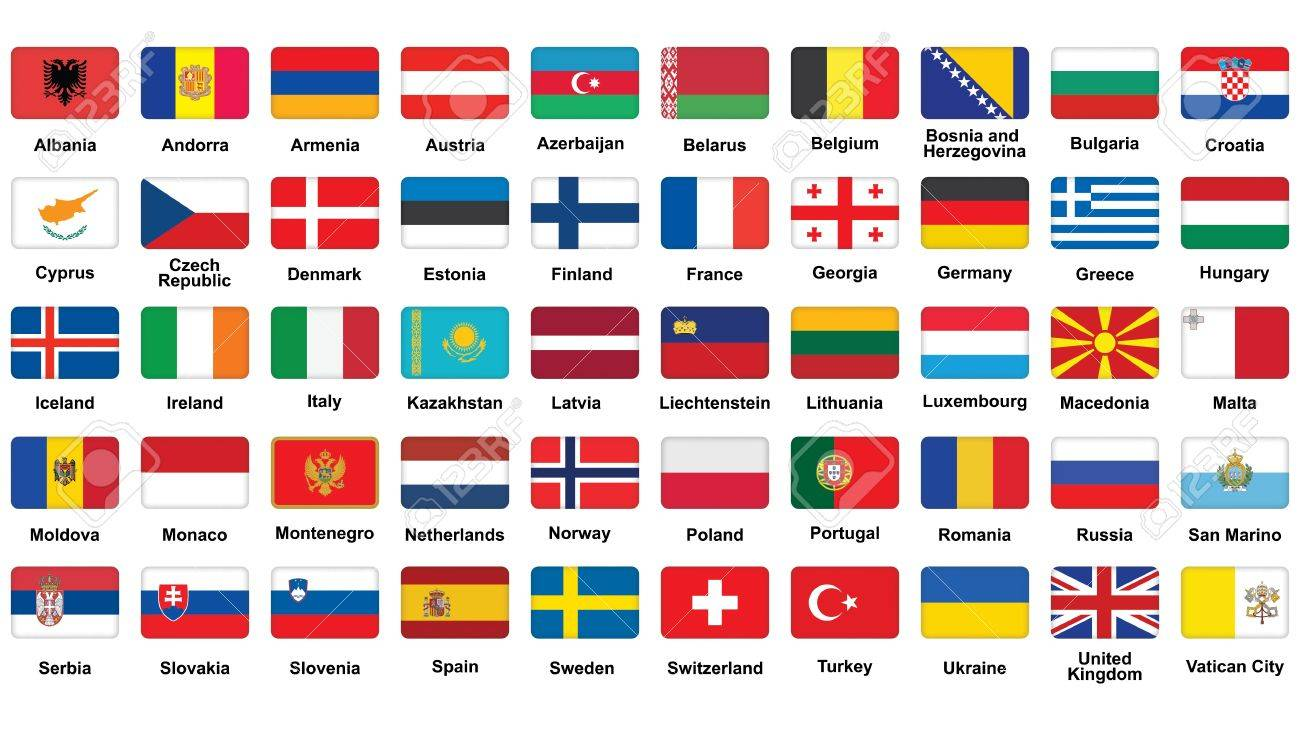 set of European flags icons with rounded corners Stock Vector - 20315025
