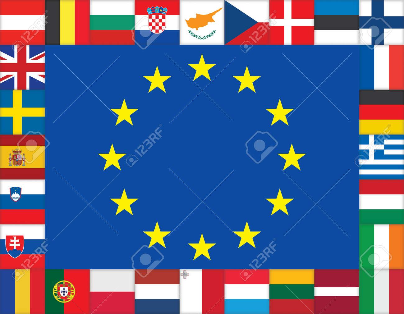 Europäische Union Flags Icons Rahmen Lizenzfrei Nutzbare ...