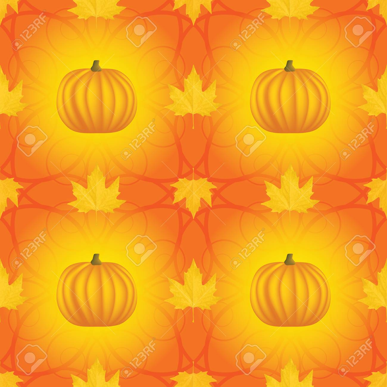 seamless Halloween pattern with pumpkins and maple leaves Stock Vector - 22630480