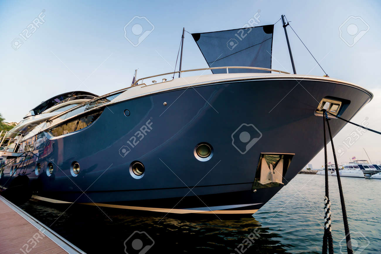 Beautiful view of marina and harbor with yachts and motorboats. Background - 139994263