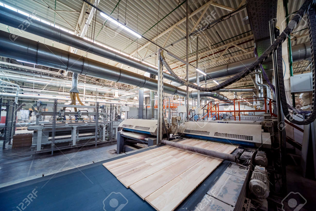 Production line of the wooden floor factory. CNC automatic woodworking machine. Industrial background - 140983571