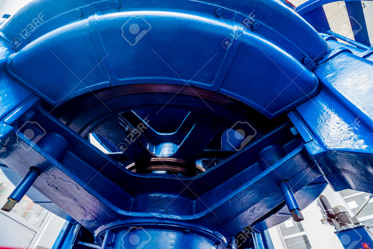 Turbine generators. Hydroelectric power plant. Interior backgorund - 148683319