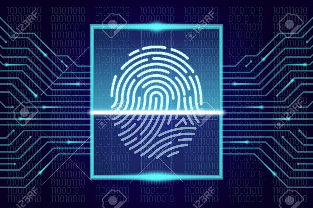 Fingerprint scanner, identification system. HUD interface concept. Vector illustration - 153579332