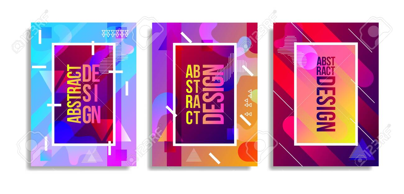 Abstract cover template with watercolor design elements. Poster with geometric shapes and multicolored transparent random overlapping shapes creating watercolor effect. - 153799056