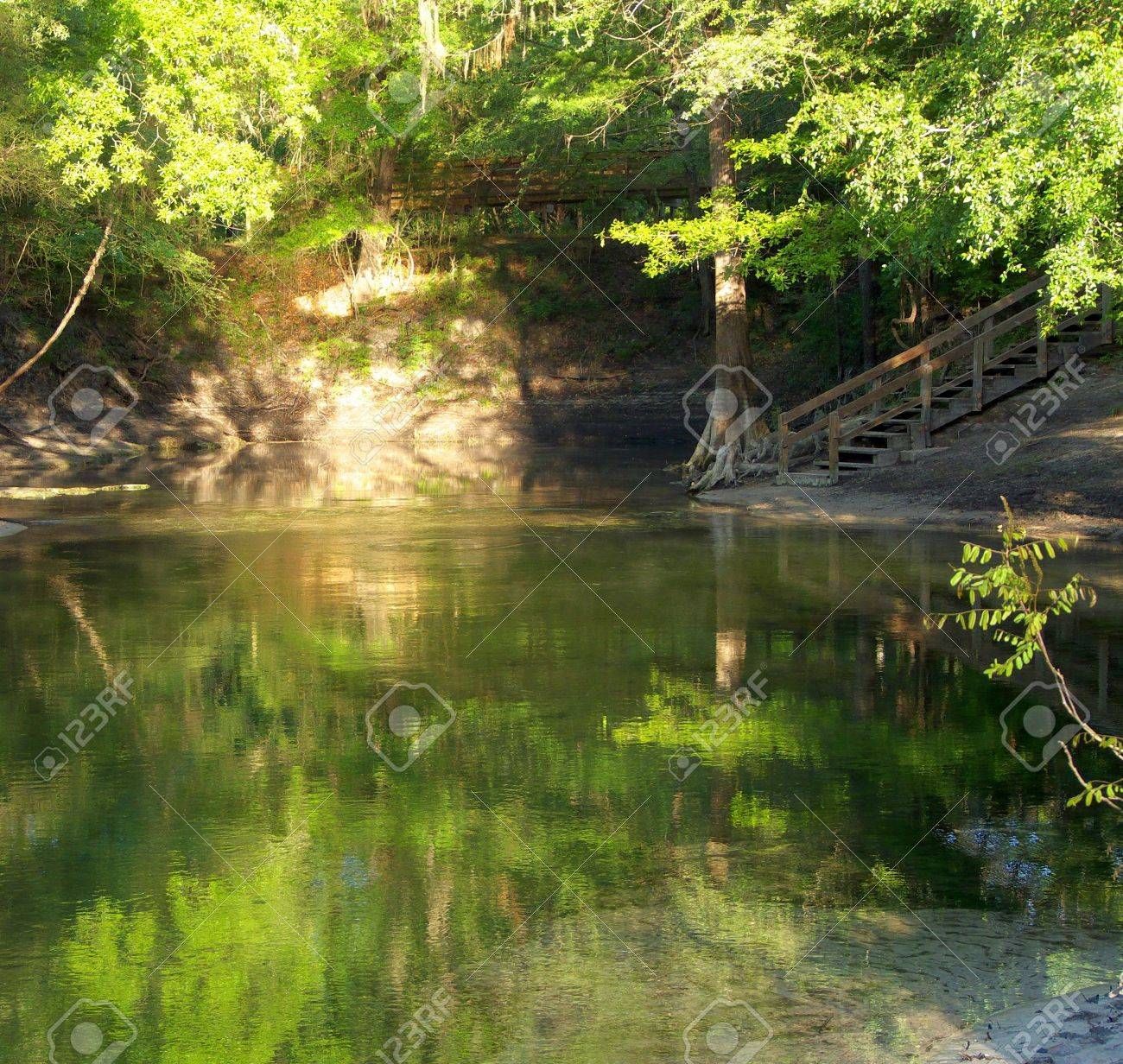 Sun illuminating the banks and trees at Lafayette Blue Springs State Park, Florida, with nice reflections in the beautiful water. Stock Photo - 7093032