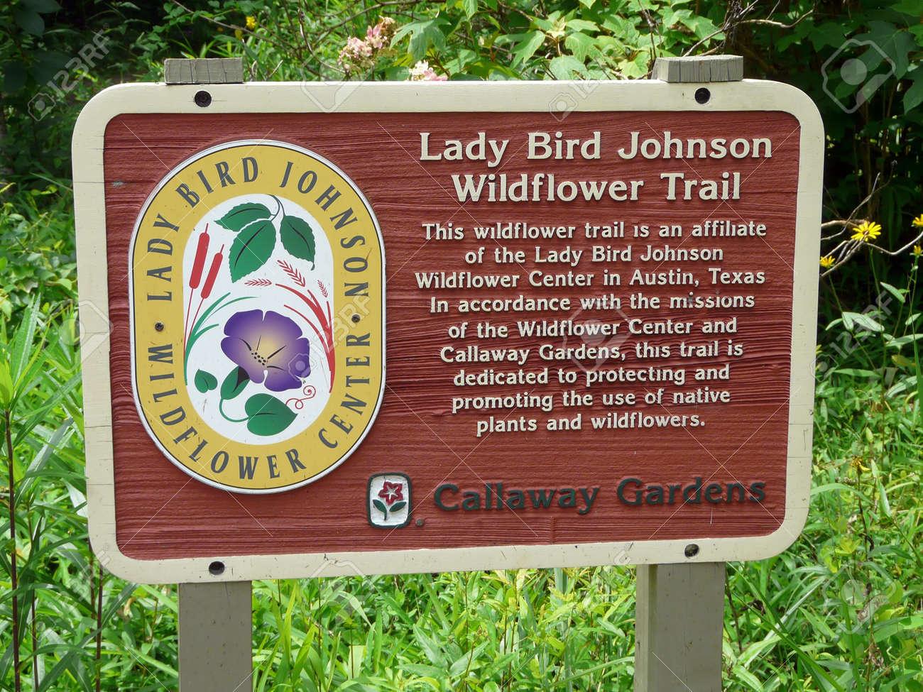 PINE MOUNTAIN, GEORGIA JUNE 5, 2018: This Sign At Callaway Gardens Indicates