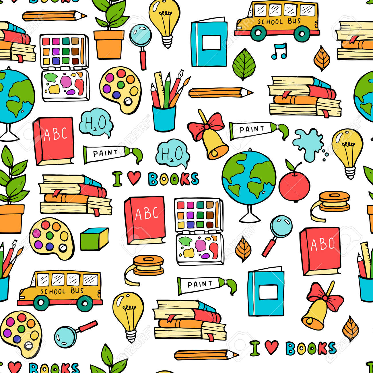 Seamless colored back to school pattern with supplies stationary and creative elements. Colorful fun cute vector line background - 111653856