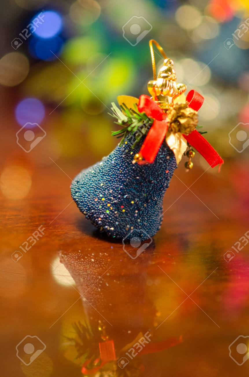 christmas bells near decorated tree Stock Photo - 24550406