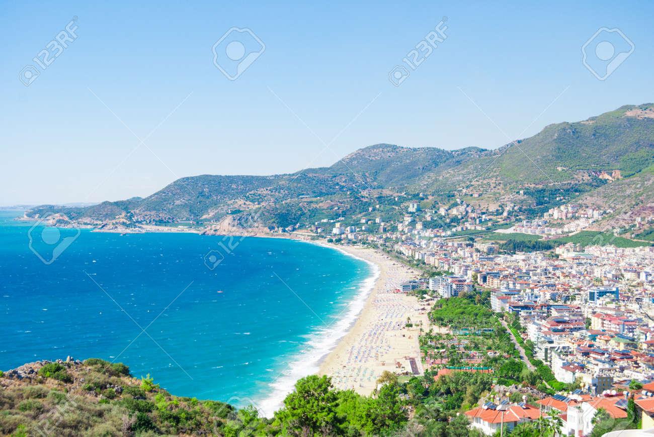 Komplett Hafen Von Alanya Und Kleopatra Strand, Antalya, Türkei Lizenzfreie  NX94