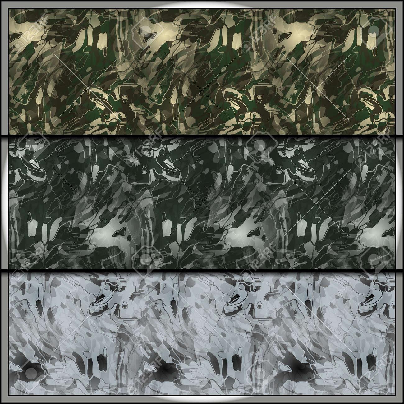 Set Moderne Tarnung Fliesen Mit Einheitliche Muster Für Alle Jahreszeiten.  Nahtlose Hintergrund Fliesen Für Militärische